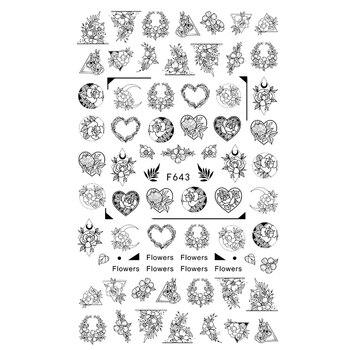Flower Series Nail Water Decal Stickers Sakura Daisy Lavender Floral Pattern Transfer Sticker  Nail Art Decoration 38