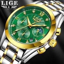 Часы наручные lige Мужские кварцевые брендовые Роскошные модные