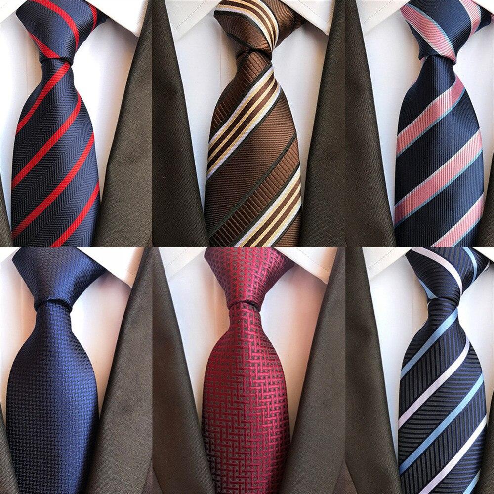 2020 New Classy Striped Check Design Silk Ties For Men Wedding Necktie Navy Blue Red Gold Grey Black Mens Business Neck Tie A085