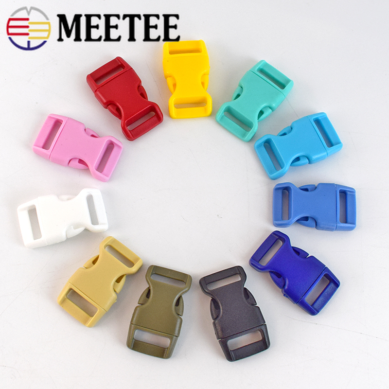 40pcs Meetee 10/15mm Colorful Plastic Curved Side Release Buckle Clasps for Paracord Bracelet Backpack Pet Collar Safety Access