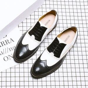 Image 5 - ผู้ชายหนังอย่างเป็นทางการรองเท้า Brogues สังคมรองเท้าชายออกแบบสีดำผู้ชายธุรกิจรองเท้า Pointed Toe รองเท้าแต่งงานผู้ชาย