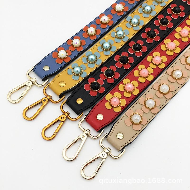 Flower Design Short Strap For Shoulder Bags PU Leather Floral Wide Handle Brass Hanger Belt Straps For Single Shoulder Women Bag