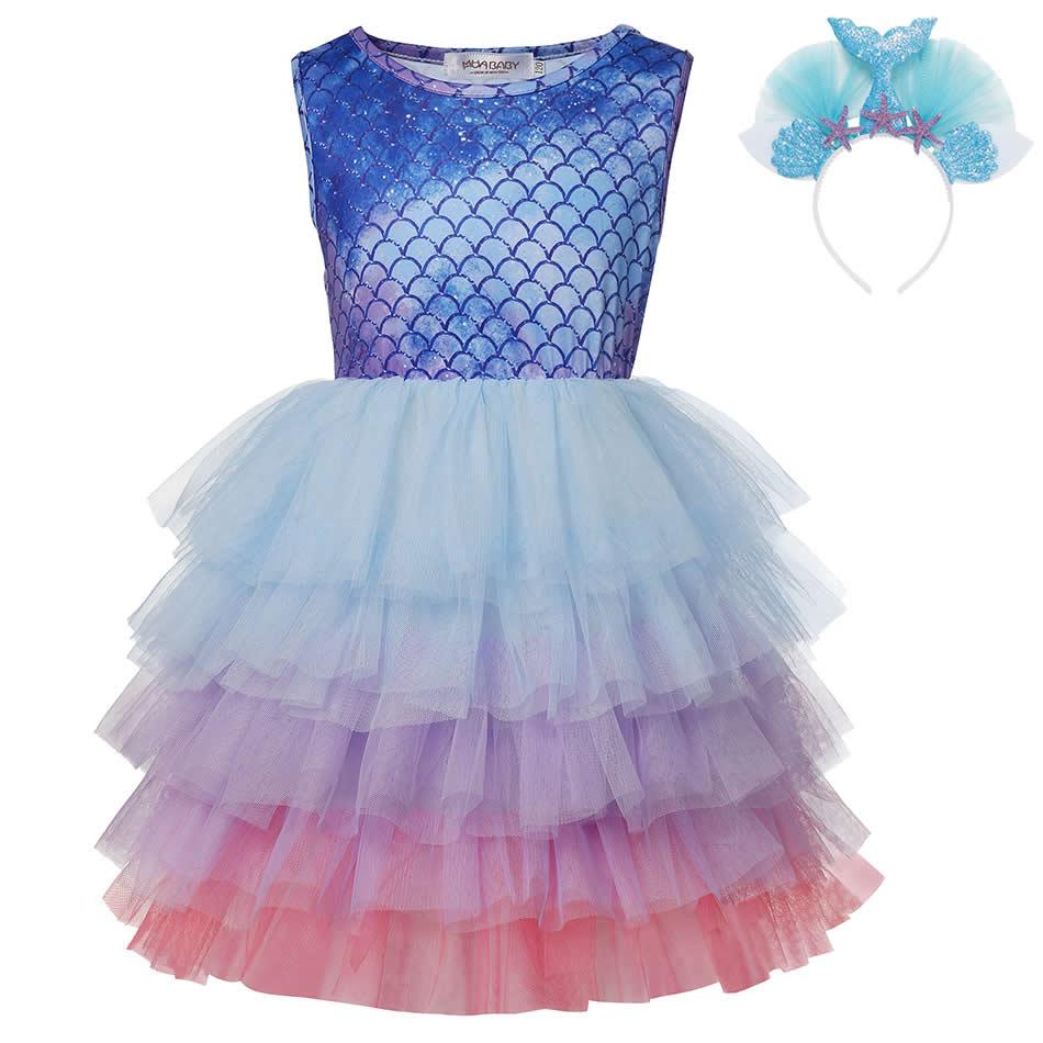 Детское многослойное платье-Русалка MUABABY, летние платья без рукавов, модные повседневные костюмы для девочек, одежда принцессы для Хэллоуин...
