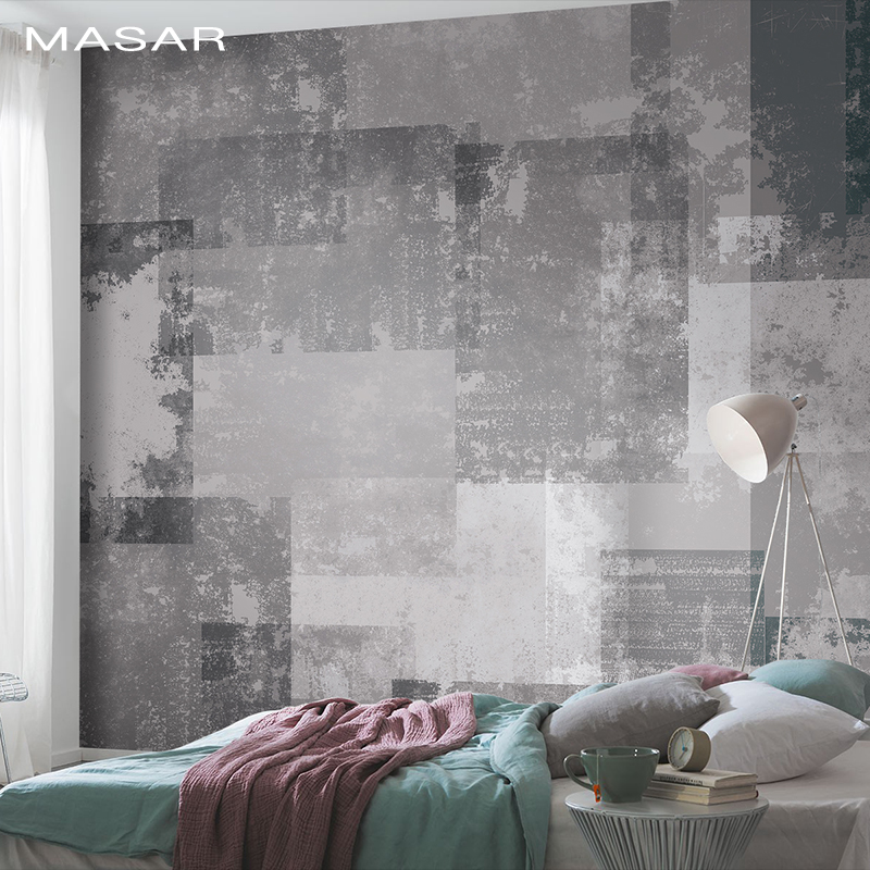 MASAR Original Art Mural Bedroom Living Room Sofa Background Wall Paper Geometric Collage For Old Mottled Geography