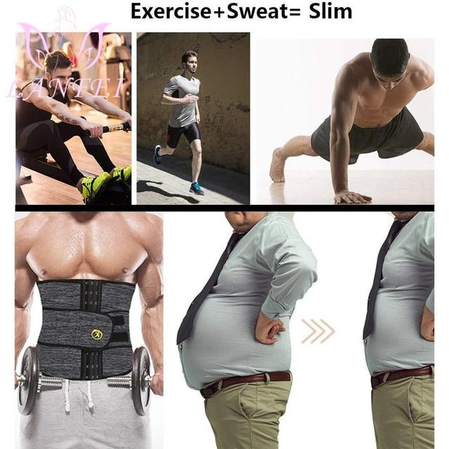 LANFEI Men Waist Trainer Slimming Belt Body Shaper Sweat Sauna Modeling Strap Workout Waist Trimmer Weight Loss Corset Plus Size 4