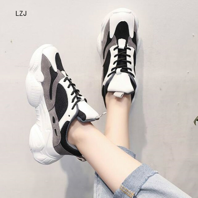 LZJ 2019 Women New Sneakers Autumn Breathable Mesh Fashion Casual Shoes Ladies Comfortable Wear Flat Shoes Vulcanized Shoes