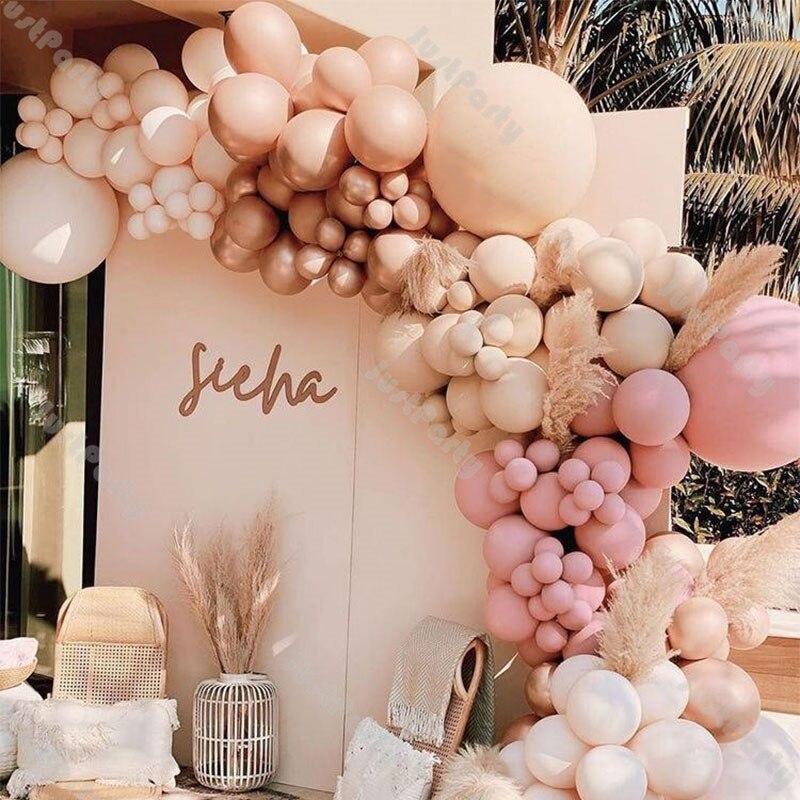 158 pçs dupla camada blush nu balão arco guirlanda kit decoração de casamento dobrado sálvia rosa damasco balão decoração do chuveiro do bebê|Balões e acessórios|   -