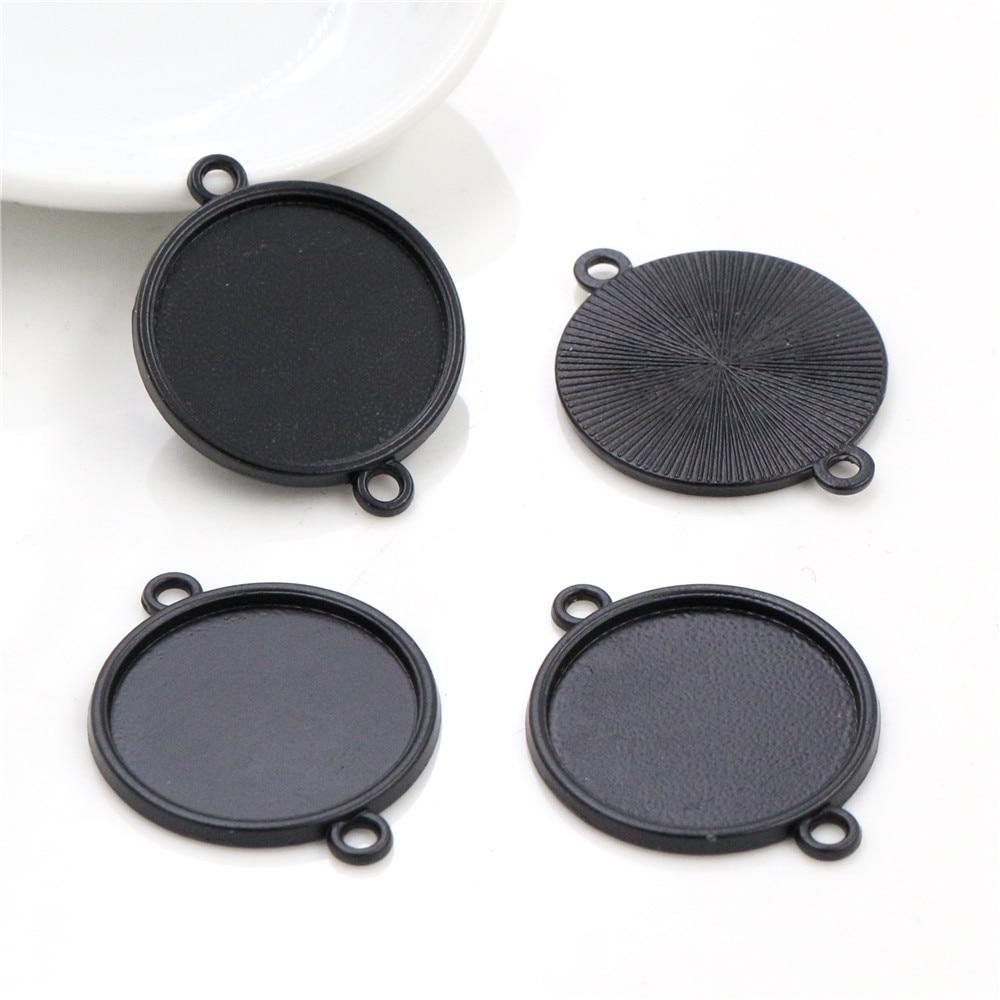 10pcs 20mm Inner Size Black Cabochon Base Setting Charms Pendant (D1-03)