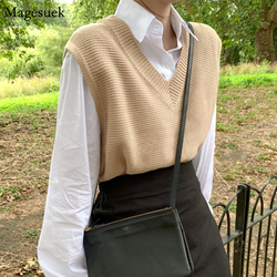 Spring Autumn Loose Sweater Women's Vest Knitted Vest V-Neck Joker Knitted Vest Womens Vests Winter Outerwear Plus Size 10974