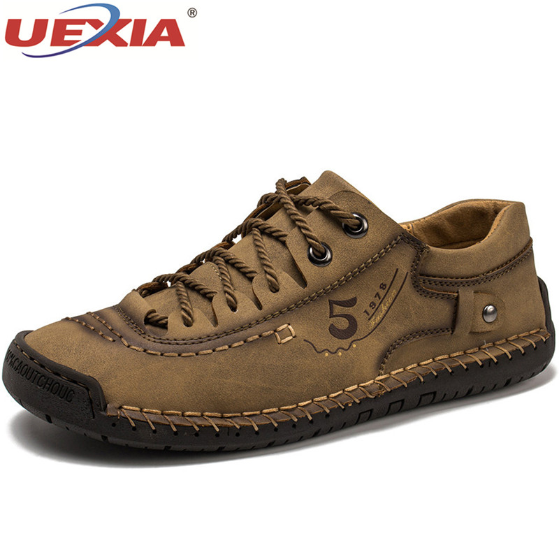 UEXIA NEW Men Shoes Microfiber Leather Hand Stitching Handmade Walking Fashion Comfort Soft Flats Casual Driving Male Footwear