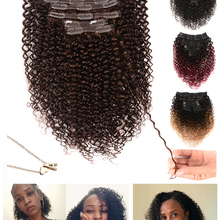 Showcoco, накладные человеческие волосы с кудрявым зажимом для черных женщин, 10-24 дюйма