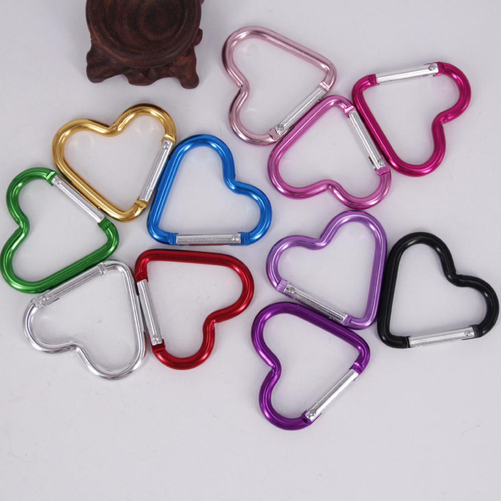 5pcs Aluminum Alloy Hanging Buckles Shaped Outdoor Color Safe Heart Buckle Small Heart Type Carabiner Fishing Keychain Camping