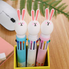 Creative stationery rabbit ten-color ball pen cartoon student color graffiti girl heart multi-color press