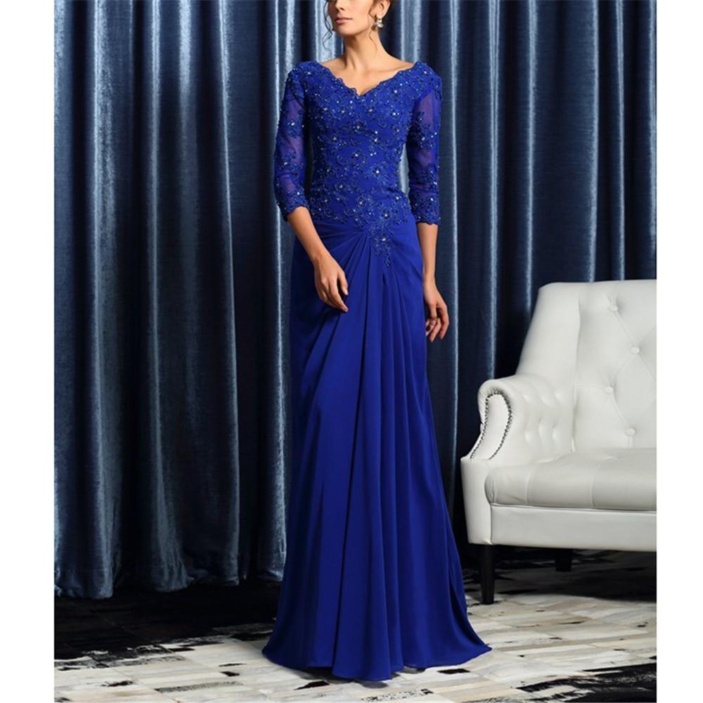 Dreamy 3/4 Sleeves V-neck Blue Chiffon Dinner Dresses Women's Dresses A-line Appliques Ruffles Custom-Made Full-Length Vestidos