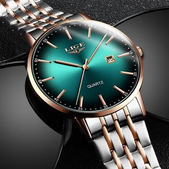 цена LIGE Mens Watches Top Brand Luxury Gold Quartz Watch Men Sport Waterproof Watch For Man All Steel Slim Green Dial Date Clock+Box онлайн в 2017 году