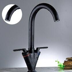 Heißer verkauf Küche Waschbecken Wasserhahn Messing Schwarz Wasserhahn Küche Tippen Deck Montiert Torneira De Cozinha Wasser Mischbatterie