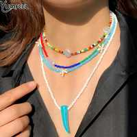 Yumfeel 2020 novo design boêmio jóias colar feminino contas artesanais pedras pérolas multi strand colar conjunto presentes