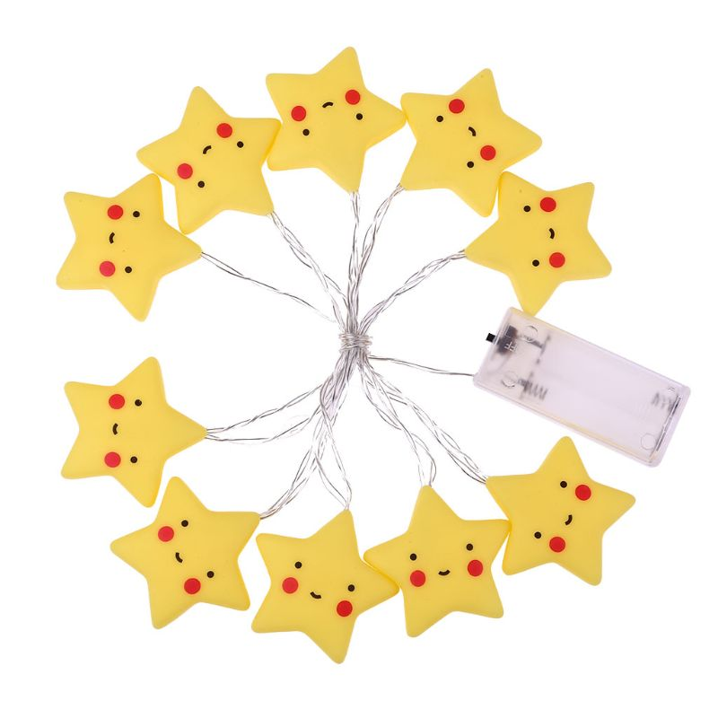 10 LEDs Smiley Star String Light Fairy Kids Night Lamp For Home Bedroom Decors