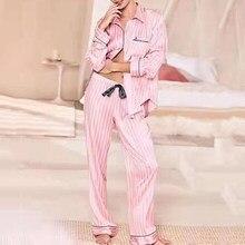 Moda à moda de cetim pijamas para mulheres de manga comprida verão sleepwear loungewear casa roupas presentes namorada