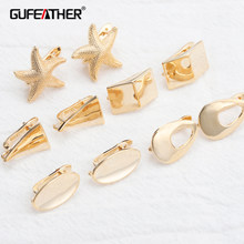 Gufeather m804, acessórios de jóias, 18k banhado a ouro, 0.3 mícrons, encantos, feitos à mão, fazer jóias, clipe de orelha, brincos diy, 10 pçs/lote