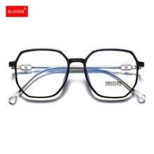 1 pièces montures de lunettes Anti lumière bleue lunettes rondes lunettes de myopie cadre en métal Simple TR90 femmes hommes miroir Transparent 2021