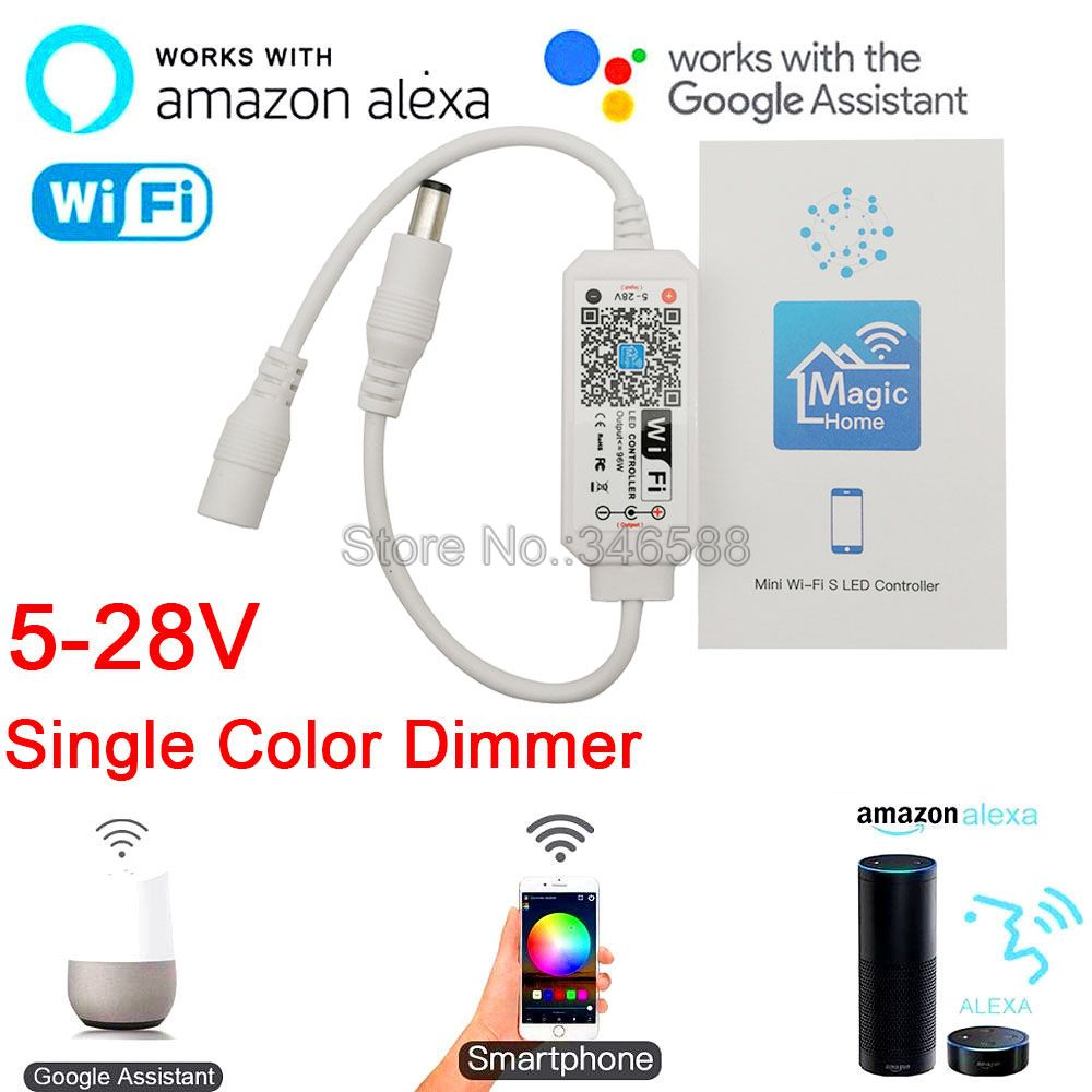 Magic Home Mini WiFi LED Dimmer Controller 5-28V Phone App Amazone Alexa Google Home Voice Control for Single Color LED Strip(China)
