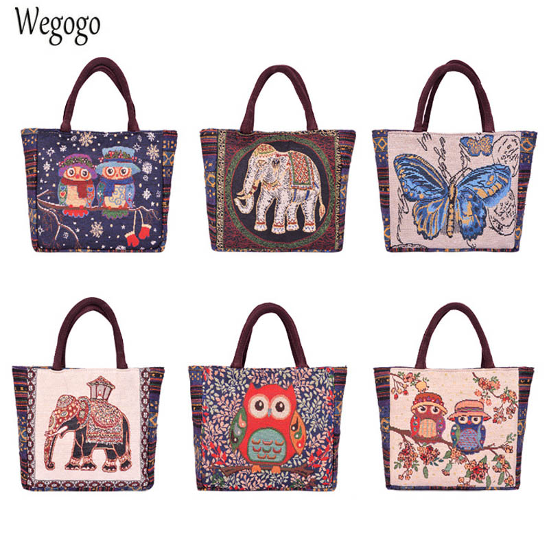 2020 New Women Cartoon Canvas Tote Ladies Owl Print Shopping Bags Fe Mini Na Mini Eco Cloth Small Handbags Coin Bags