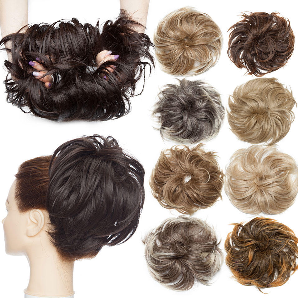 S-noilite Fluffy Chignon Hairpiece Synthetic Tousled Messy Bun Hair Elastic Band Updo Chignon Hair Hairpiece For Women 85g