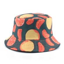 2019 Two Side Reversible Fruit Print Bucket Hat Men Women Fishermen Fishing Panama Bob Hip Hop Cap