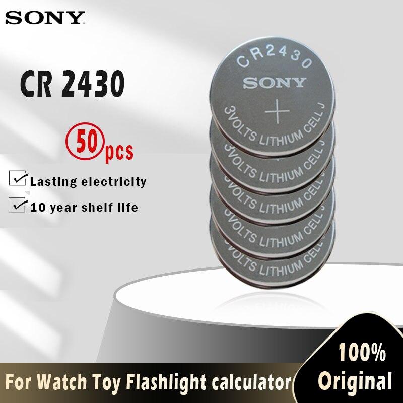 50 шт. оригинальный Sony CR2430 CR 2430 кнопочный аккумулятор DL2430 BR2430 KL2430 3 в литиевый аккумулятор для часов, игрушек, слуховых аппаратов