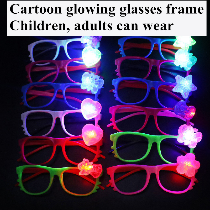 3pcs LED Glasses Flash Luminous Blind Children Girl Boy Cartoon Flashing Lights Wedding Carnival Dance Bar Party Christmas Toy