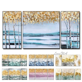 Newest 3 Pieces Abstract Gold Tree Oil Painting Forest Landscape Wall Art Modern Home Decor Paintings 3 Panels Wall Art Decor фото