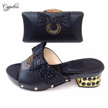 Latest fashion black with stones pump shoes and bag set nice slippers with purse 530-1 heel height 5.5cm(China)