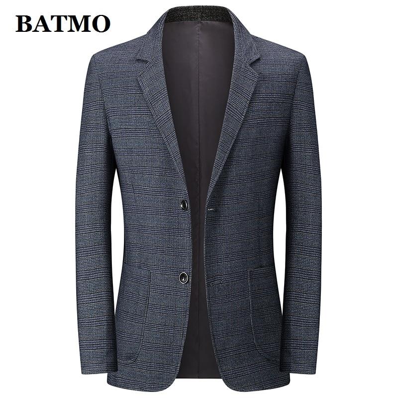 BATMO 2020 New Arrival Spring Plaid Casual Grey Blazer Men,men's Plaid Casual Jackets,1928