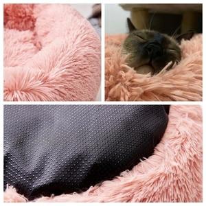 Image 3 - سرير للقطط s سرير كلب مريح مستدير للقطط سرير مهدئ بيت الكلب مكافحة القلق للقطط الصوف الخطمي سرير للقطط وسادة