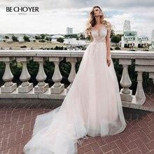 Bechoyer querida apliques vestido de casamento rosa delicado linha a ilusão tribunal trem princesa vestido de noiva fy06