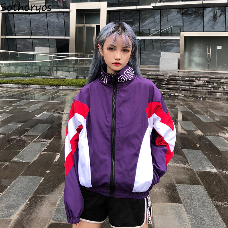 Jackets Women Stand Loose Simple Korean Style Letter Printed Jacket Chic Zipper Student Harajuku All-match Womens Hip Hop Coat