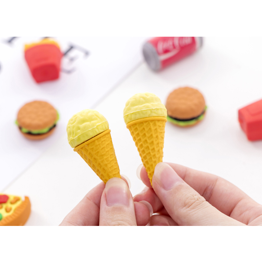 5pcs/lot Burger Cola Fast Food  Eraser Cute Stationery School Girl Student Prize Supplies Party Favor Gift