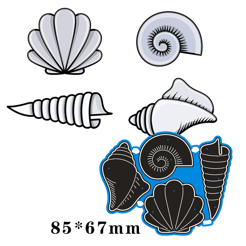 85*67mm Conch And Shell Metal Cutting Dies For Card DIY Scrapbooking Stencil Paper Craft Album Template Dies