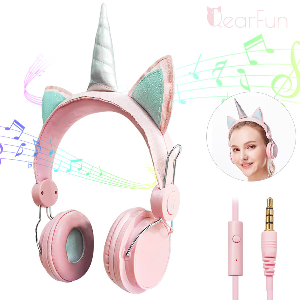 Kids Girl Unicorn Headphones With Mic 3.5mm Jack Wired Headphones PC Computer Phone Music Gaming Stereo Headset Children Gifts image