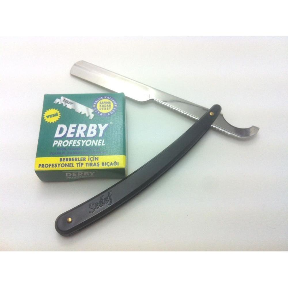 100 Blades Single Edge DERBY With Black Straight Edge Barber Razor-tracking Ship