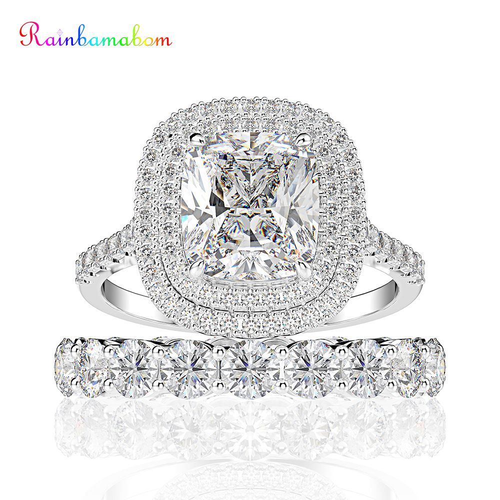 Rainbamabom 925 Solid Sterling Silver Created Moissanite Gemstone Wedding Engagement Band Ring Sets Gifts Fine Jewelry Wholesale