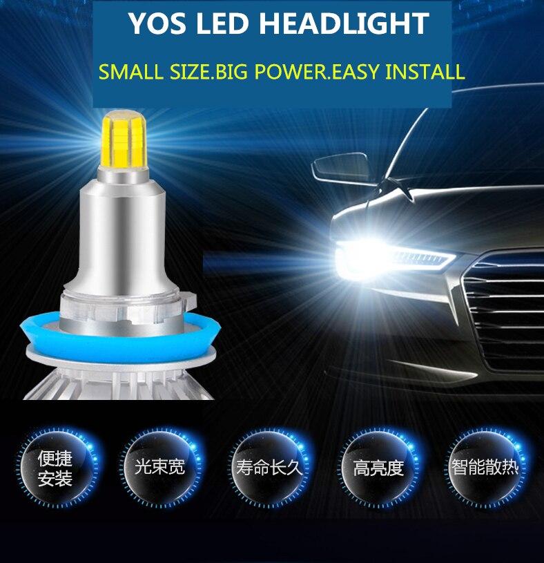 Car Headlight Bulbs LED For Toyota Land Cruiser Prado 2014-2020 12V 90W 6000K 360 Degree Prado lights modified LED