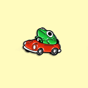 Frog Driver Enamel Pin Small Red Car Brooch Backpack Clothes Lapel Funny Animal Frog Jewelry Gift for Friends Children