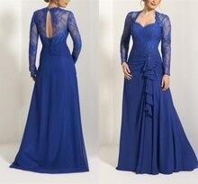 Моя дорогая 2020 длинные рукава аппликация королевский синий шифон мать невесты платье оборками вырез спереди спинки горничной платья