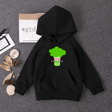 Boys Girls Broccoli Happy Smile Hoodies Sweatshirts  Hoodies Kids Baby Pullover T Shirt Kids Funny Clothes Black Children Spring new kids sweatshirt moana costume for girls new moana princess t shirt boys sweatshirts girls hoodies baby clothes kids t shirt
