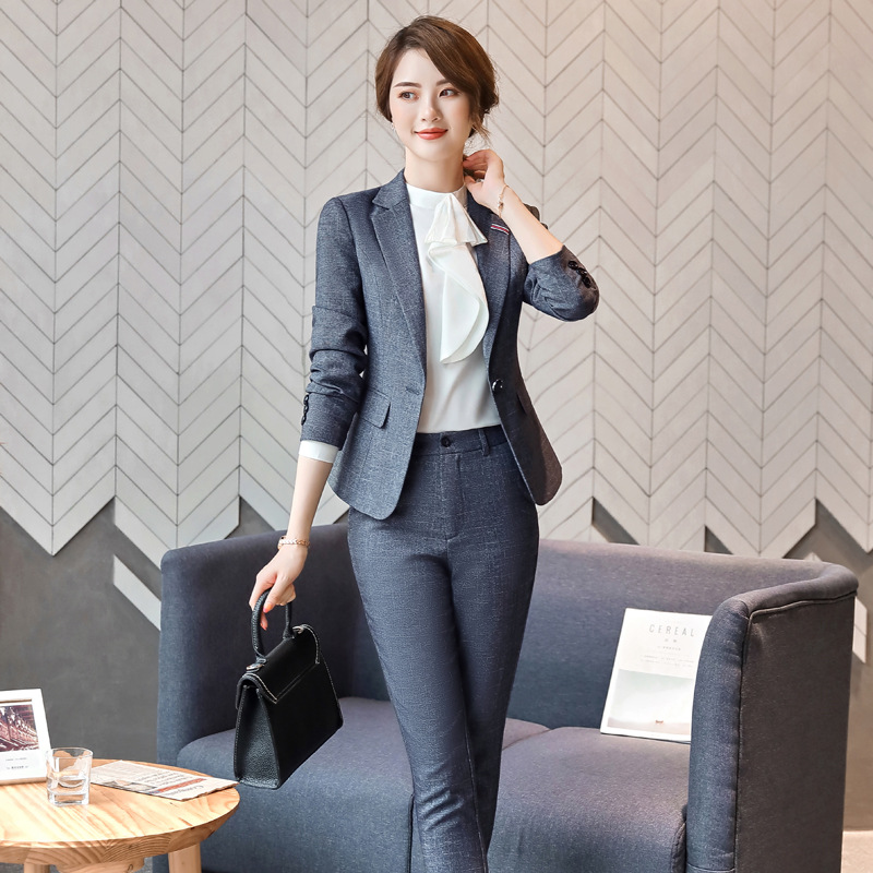 Gray Formal Elegant Women's Formal Pants Suits Blazer Jacket Office Lady Work Business Uniform Trousers Clothing Two Piece Set