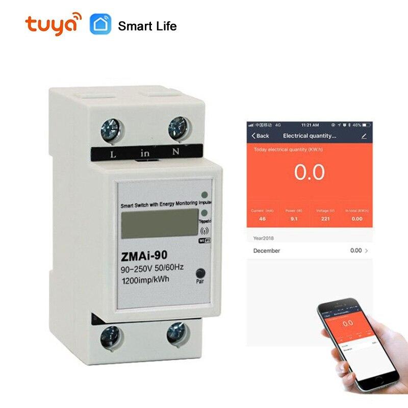 La Vie intelligente/tuya APPLICATION rail Din monophasé WIFI Compteur D'énergie Intelligent Consommation D'énergie kWh Mètre wattmètre 220 V, 110V AC 50Hz/60hz