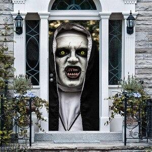 Image 2 - Halloween porte autocollants verre fenêtre autocollant salle de bain papier peint horreur effrayant porte autocollant accessoires de fête