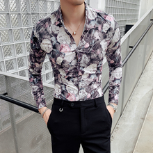 2019 Autumn Rose Print Men Shirt Long Sleeve Dress Casual Slim Fit Shirts Streetwear Night Club Camisa Social Masculina